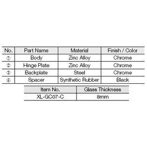 Glass Hinge(overlay, W/catch)