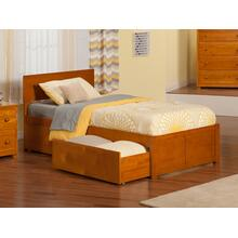 Orlando Twin Flat Panel Foot Board with 2 Urban Bed Drawers Caramel Latte