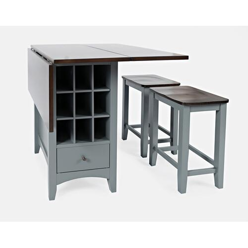 Jofran - Asbury Park Counter Drop Leaf Table W/(2) Backless Stools