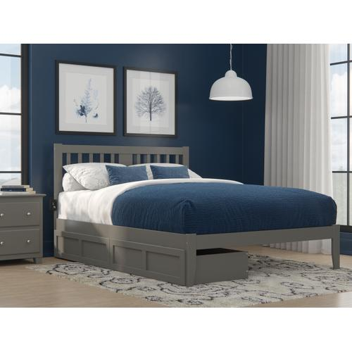Tahoe Queen Bed with USB Turbo Charger and 2 Extra Long Drawers in Grey