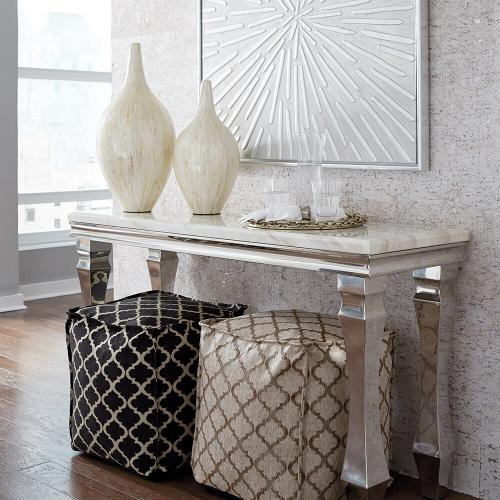 Howard Elliott - Stainless Steel Console Table with Faux Marble Top