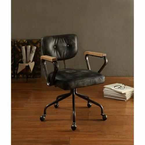 ACME Hallie Executive Office Chair - 92411 - Vintage Black Top Grain Leather