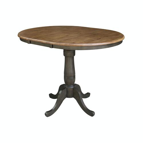 Round Extension Table in Hickory/Coal