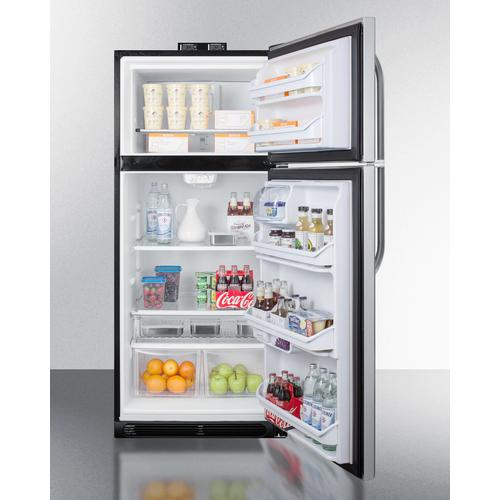 Product Image - 21 CU.FT. Break Room Refrigerator-freezer With Stainless Steel Doors, Black Cabinet, and Nist Calibrated Alarm/thermometers