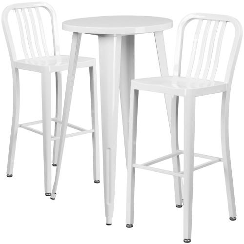 24'' Round White Metal Indoor-Outdoor Bar Table Set with 2 Vertical Slat Back Stools