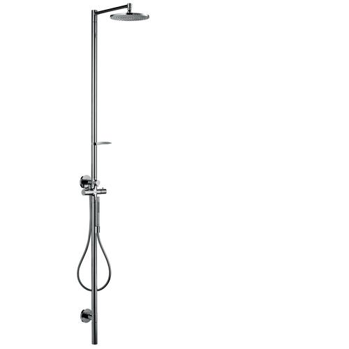 Polished Red Gold Shower column with thermostat and plate overhead shower 240 1jet