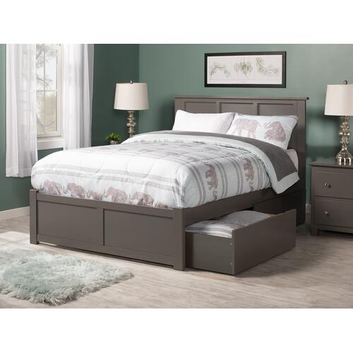Madison King Flat Panel Foot Board with 2 Urban Bed Drawers Atlantic Grey