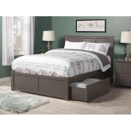 Atlantic Furniture - Madison King Flat Panel Foot Board with 2 Urban Bed Drawers Atlantic Grey