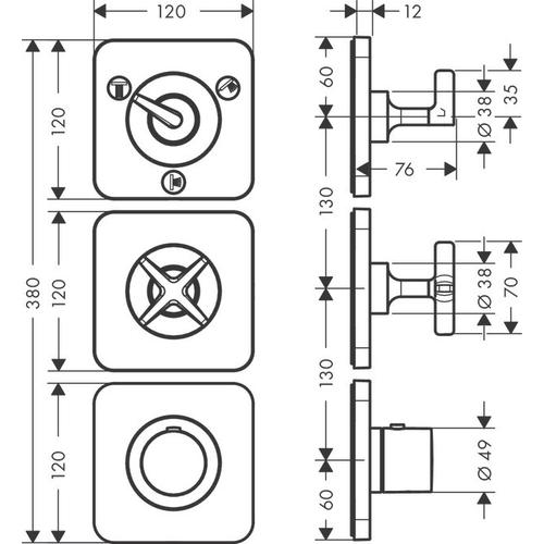 Brushed Gold Optic Thermostatic module 380/120 for concealed installation for 3 functions with escutcheons