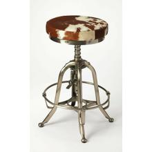 See Details - Perfect pulled up to your open-concept kitchen island, or paired with a rustic home bar, this stylish swivel bar stool lends a touch of rustic appeal to any ensemble. Crafted of Iron in a silver finish, the four-legged frame features a hand adjustment and a built-in hoop footrest. Sporting a warm brown and white finish, the backless Hair on Hide leather seat features a 360-degree swivel mechanism to keep you in the flow of conversation, while a threaded column shaft adjusts the seat height for a customized fit.