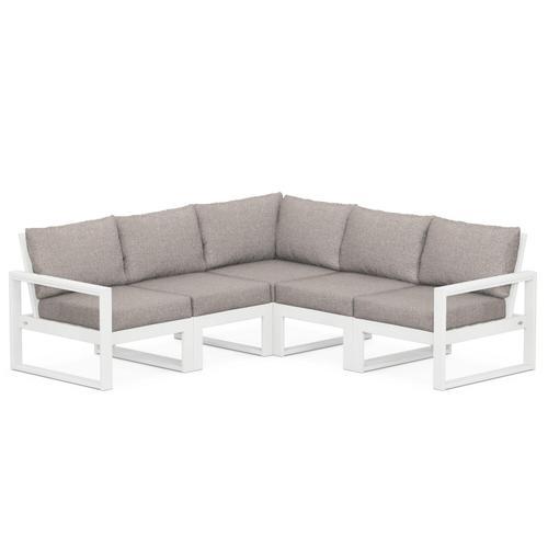 Polywood Furnishings - EDGE 5-Piece Modular Deep Seating Set in White / Weathered Tweed