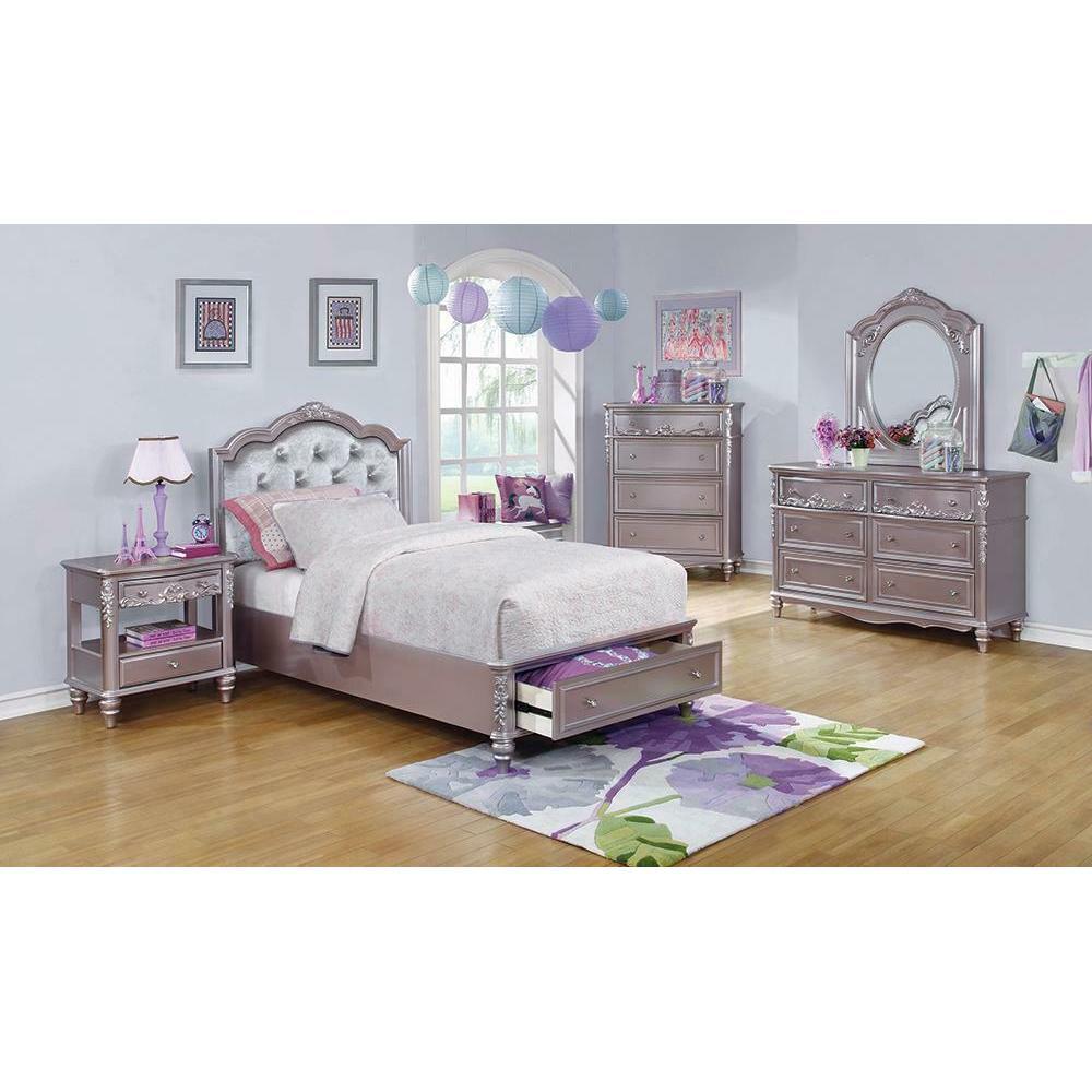 Caroline Metallic Lilac Full Storage Bed