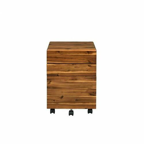ACME Jurgen File Cabinet - 92913 - Industrial, Contemporary - Wood (Solid Wood), Veneer (PVC), PB, Casters - Oak and Black