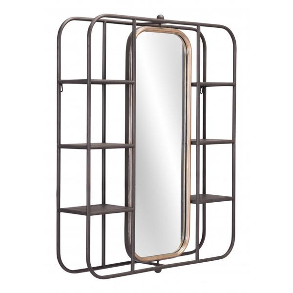 Alice Mirror Shelf Gray
