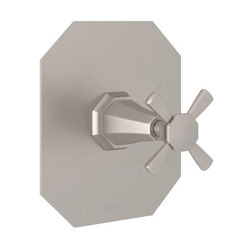 Deco Pressure Balance Trim without Diverter - Satin Nickel with Cross Handle