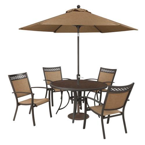 Signature Design By Ashley - Carmadelia - Tan/Brown Patio Set with Umbrella