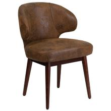 Bomber Jacket Microfiber Side Reception Chair with Walnut Legs