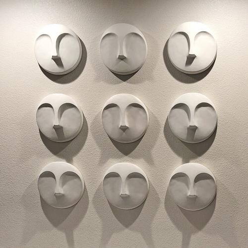 Howard Elliott - Matte White Round Face Wall Sculpture