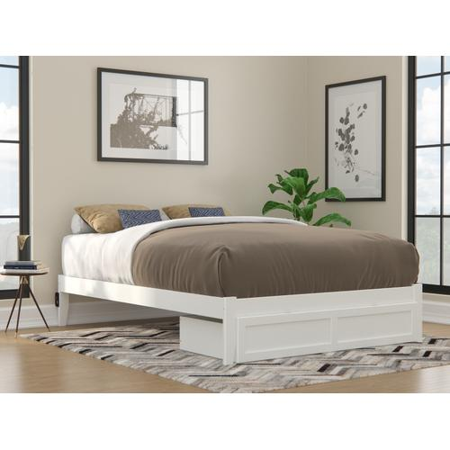 Colorado Queen Bed with Foot Drawer and USB Turbo Charger in White