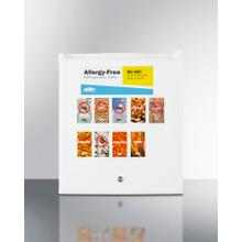 Commercially Approved Compact All-refrigerator In White, Designed To Serve as an Allergy-free Storage Zone, With Digital Thermostat, Keyed Lock, and A Set of Allergy Warning Magnets