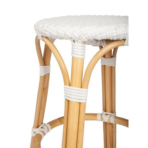 Evoking images of sidewalk tables in the Cote d'Azur, counter stools like this will give your kitchen or patio the casual sophistication of a Mediterranean coastal bistro. Expertly crafted from thick bent rattan for superb durability, it features weather resistant woven plastic in a white pattern. This backless counter stool is lightweight for easy mobility with comfort to make the space it's in a frequent gathering place.