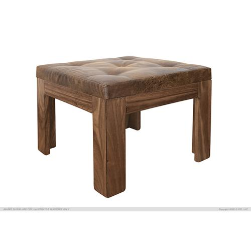 Solid wood Stool w/ Bonded Leather Seat