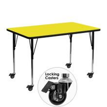 Mobile 24''W x 48''L Rectangular Yellow HP Laminate Activity Table - Standard Height Adjustable Legs