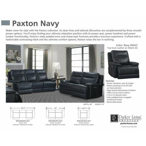 PAXTON - NAVY Power Loveseat