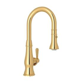 Patrizia Pulldown Bar and Food Prep Faucet - Italian Brass with Metal Lever Handle