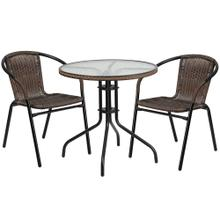 28'' Round Glass Metal Table with Dark Brown Rattan Edging and 2 Dark Brown Rattan Stack Chairs