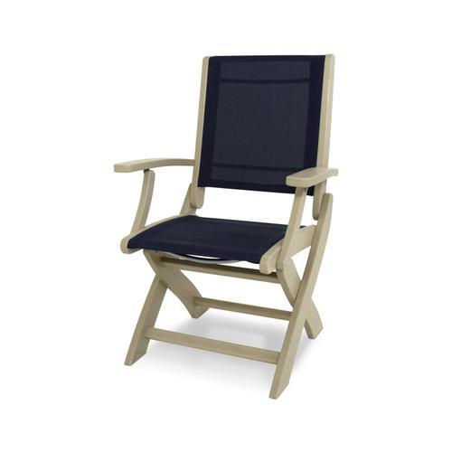 Sand & Navy Blue Coastal Folding Chair