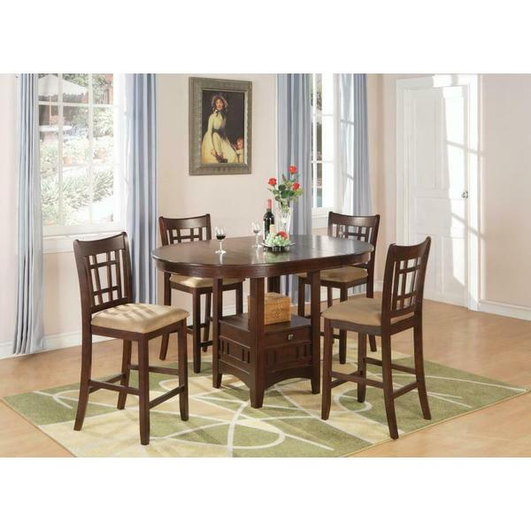 See Details - Lavon Transitional Warm Brown Five-piece Counter-height Set