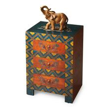 See Details - This invitingly vibrant, textured hand painted chest will be a bright spot in your room. Individually handcrafted from mango wood solids and wood products, it features three drawers with painted metal hardware.