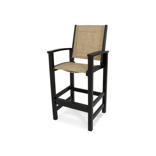 Black & Burlap Coastal Bar Chair