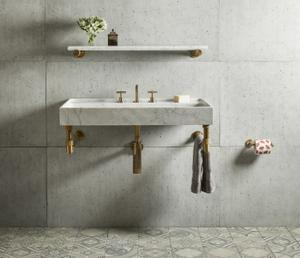 "Elemental Accessory Shelf Aged Brass / Honed Carrara Marble / 36"" Product Image"