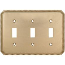 Triple Beaded Switchplate in (US3 Polished Brass, Lacquered)