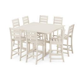 Polywood Furnishings - Lakeside 9-Piece Bar Side Chair Set in Sand