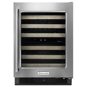 "Kitchenaid24"" Wine Cellar with Glass Door and Wood-Front Racks Stainless Steel"