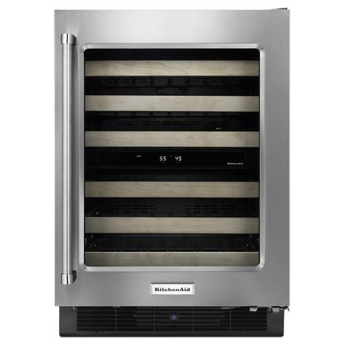"""KitchenAid - 24"""" Wine Cellar with Glass Door and Wood-Front Racks Stainless Steel"""