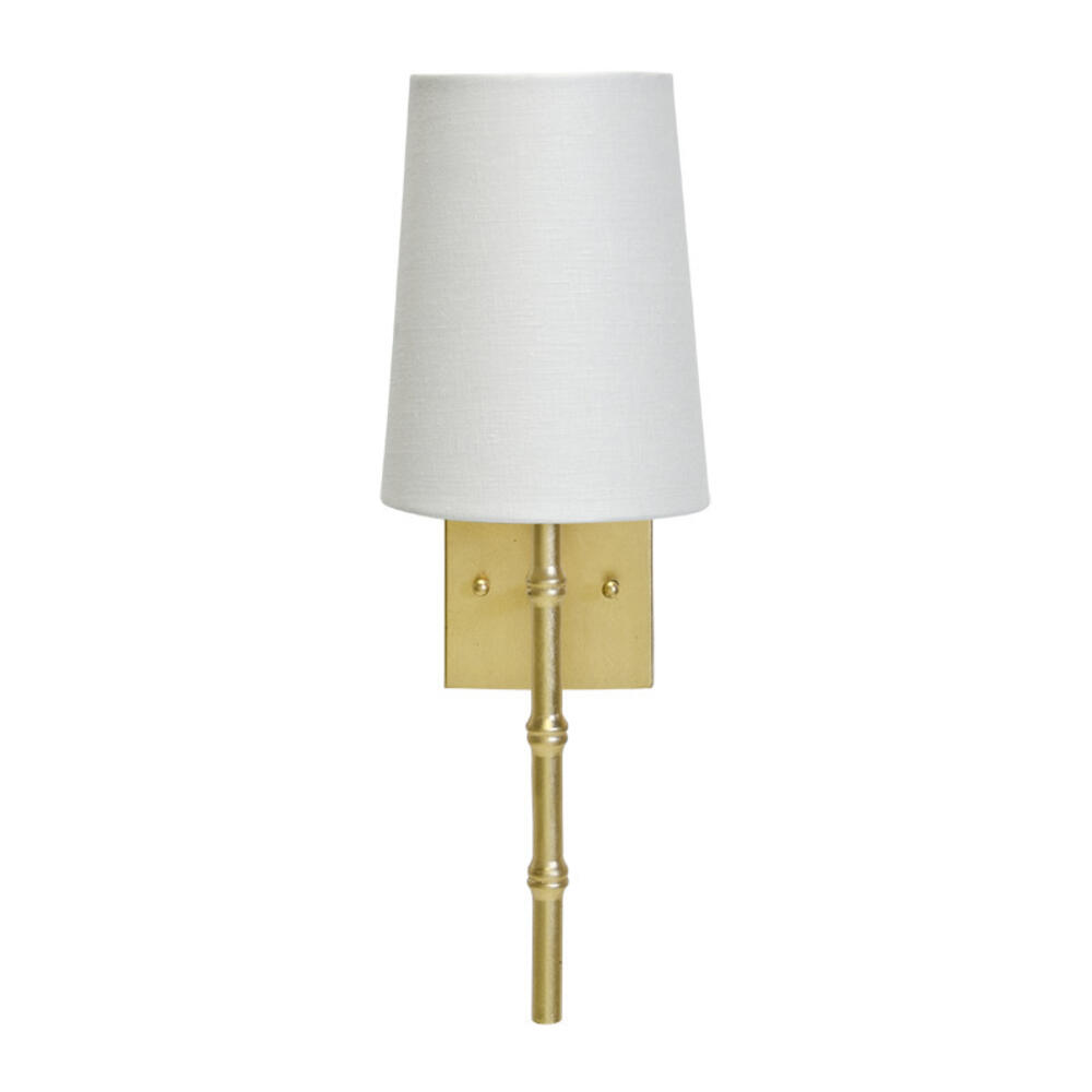 Our Petite Molly Sconce Offers A Dose of Tropical Detail With Its Bamboo Styling. Features A Linear Base Hand Finished In Gold Leaf With A Crisp White Linen Shade. Decorate Your Powder Room With These Paired On Opposite Sides of Your Favorite Mirror, or Hang One Above Each of Your Bedside Tables for an Elegant and Functional Finishing Touch.