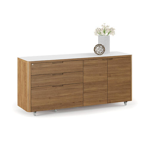 6729 Mobile Credenza in Natural Walnut Satin White