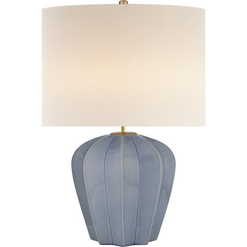 AERIN Pierrepont 30 inch 75 watt Polar Blue Crackle Table Lamp Portable Light, Medium