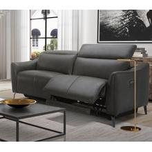 Divani Casa Prairie Modern Dark Grey Leather Dual Electric Sofa Recliner with Electric Headrest