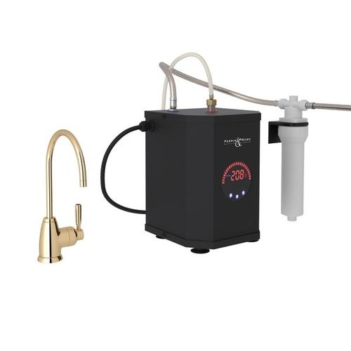 English Gold Perrin & Rowe Holborn C-Spout Hot Water Faucet, Tank And Filter Kit with Contemporary Metal Lever