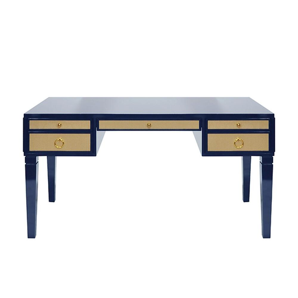 Some May Say the Heidi Desk Was Designed Solely To Revive the Lost Art of Penmanship - But Whether You Use It for Writing Letters or Emailing Them, You'll Love the Exquisite Luxe Tailoring In Any Contemporary Home Office. Contrasting Natural Grasscloth Drawers Add an Organic Feel To This Timeless, High Gloss Navy Lacquer Frame. Brass Hardware Completes the Look.