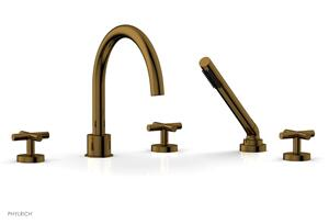 TRANSITION - Deck Tub Set with Hand Shower - Cross Handles 120-48 - French Brass Product Image