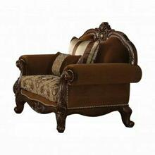 ACME Jardena Chair w/2 Pillows - 50657 - Fabric & Cherry Oak