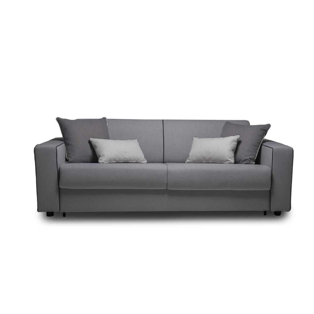 The Reserve Queen Size Sofa Bed In Gray Linen Fabric And Black Feet
