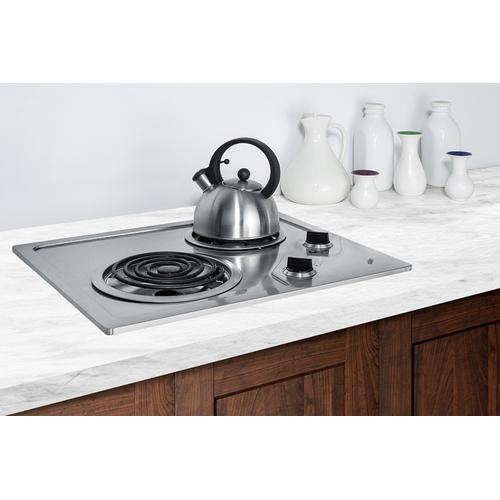 Summit - 2-burner 230v Electric Cooktop Designed for Portrait or Landscape Installation, With Coil Elements and Stainless Steel Finish