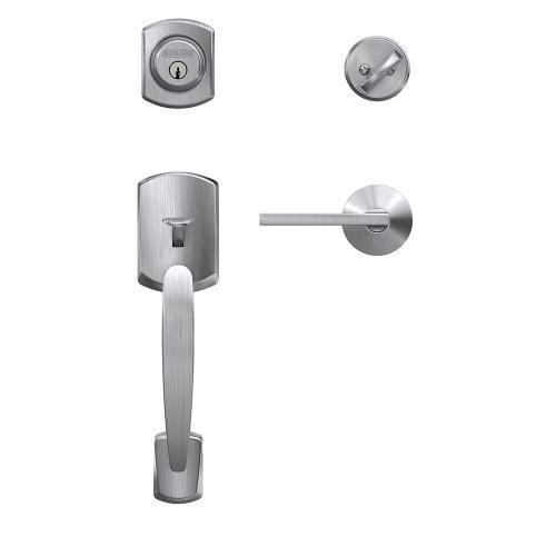 Custom Greenwich Single Cylinder Handleset and Interior Latitude Lever with Kinsler Trim - Satin Chrome
